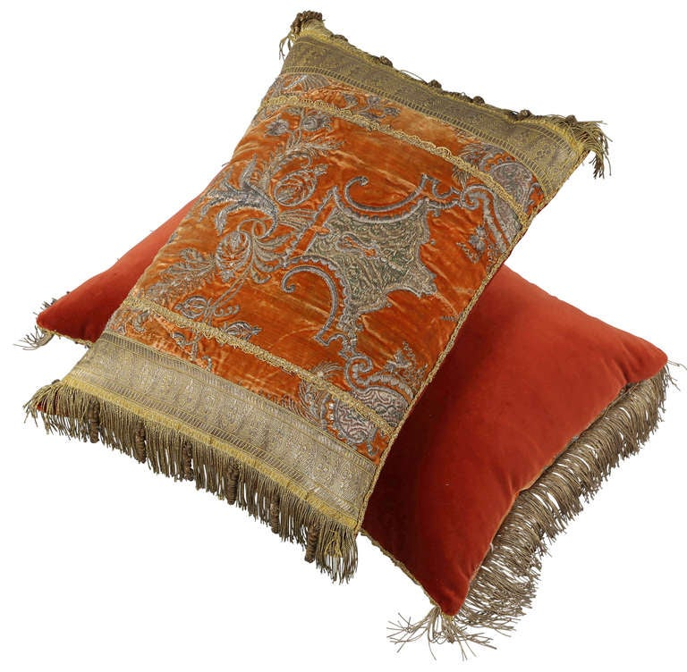 Pair Of Pillows In Turkish Ottoman Period Fabric At 1stdibs