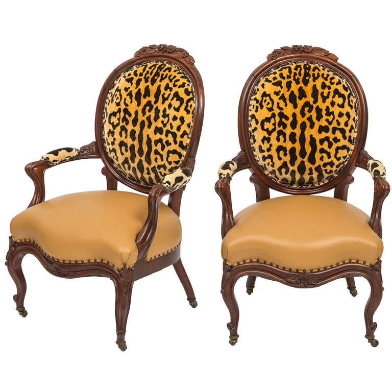 19c pair of french victorian armchairs at 1stdibs for Pair of chairs for living room