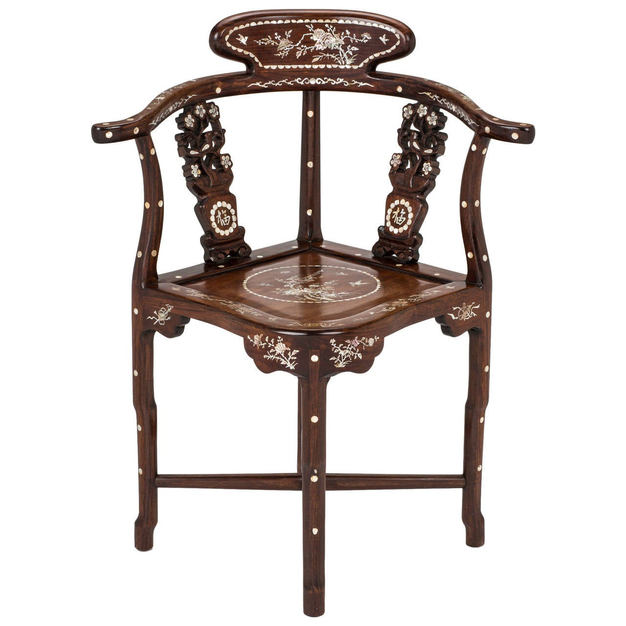 Four Rosewood Mother Of Pearl Inlay Corner Chair For