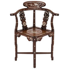 Rosewood, Mother of Pearl Inlay Corner Chair