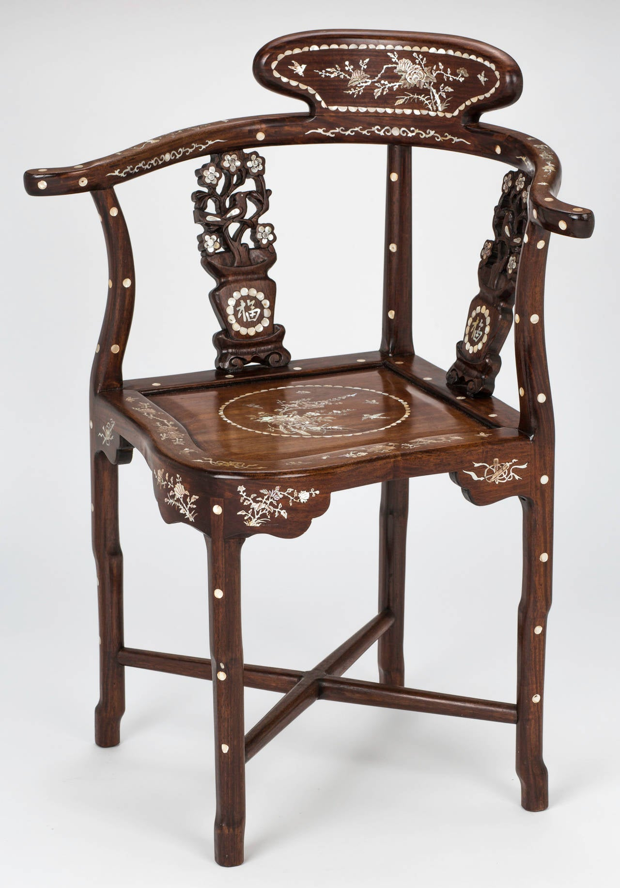 Four Rosewood Mother of Pearl Inlay Corner Chair at 1stdibs