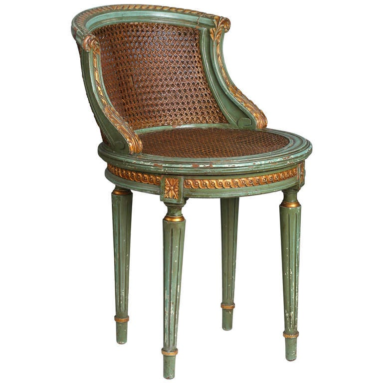 1900s French Cane Swivel Dressingchair At 1stdibs
