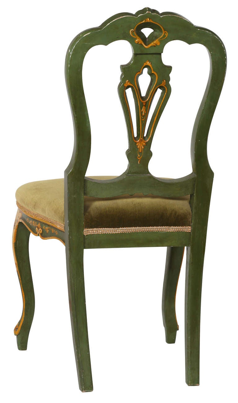 Pair Of 19th C Italian Painted Chairs For Sale At 1stdibs