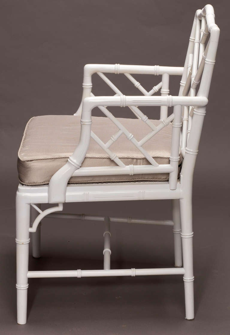 Chippendale arm chair - Chippendale Style Faux Bamboo Cane Arm Chairs 3