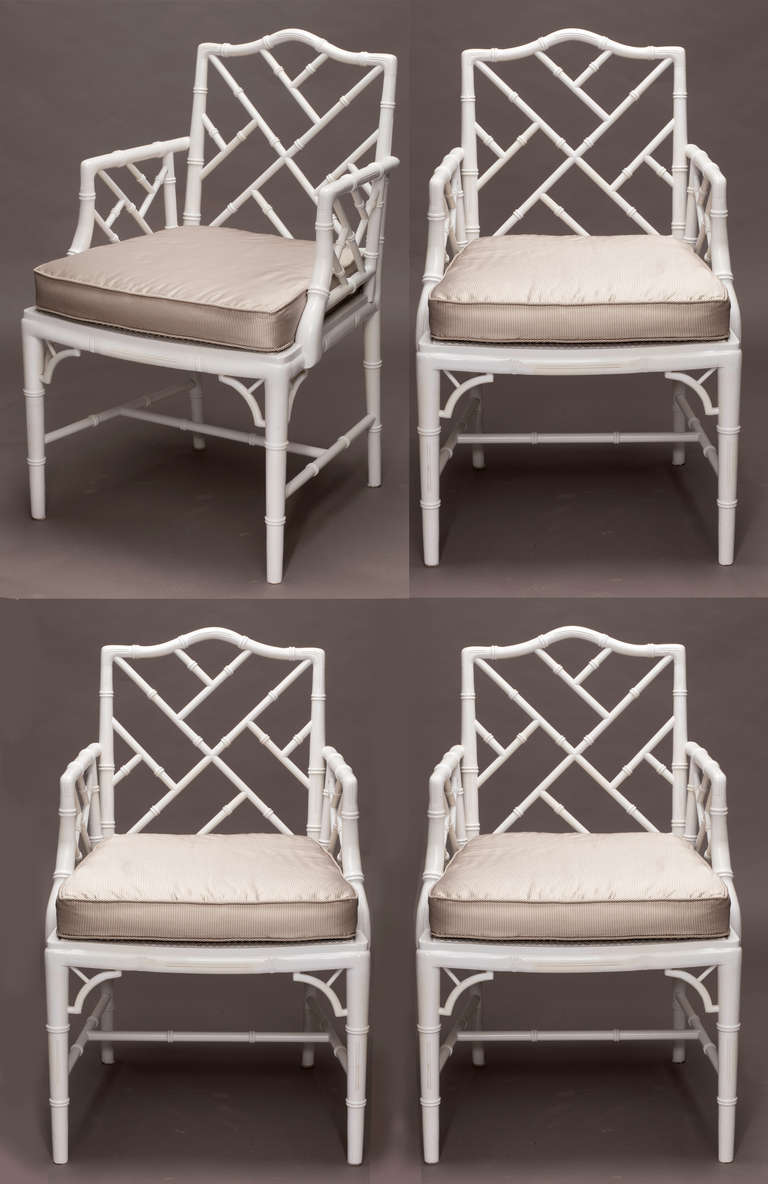Genial Set Of 4 Faux Bamboo Armchairs With Cane Seat. Painted White Enamel.  Cushions Are