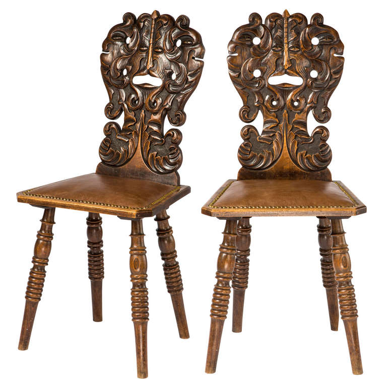 Pair of Carved Face Hall Chairs For Sale - Pair Of Carved Face Hall Chairs At 1stdibs