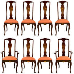 Set of Eight Marquetry Inlay Dining Chairs