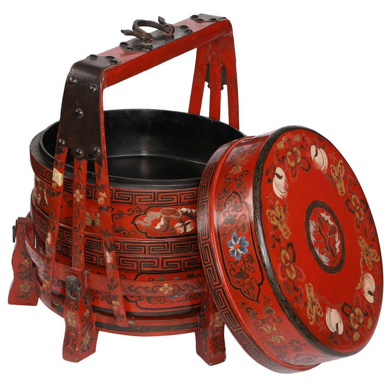 1900s red chinese wedding day food carrier box at 1stdibs for Chinese art furniture