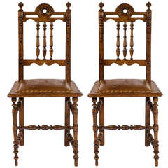 Pair of English Oak and Leather Chairs, circa 1900s