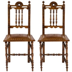 Leather Dining Chairs, Pair of English Oak, circa 1900s
