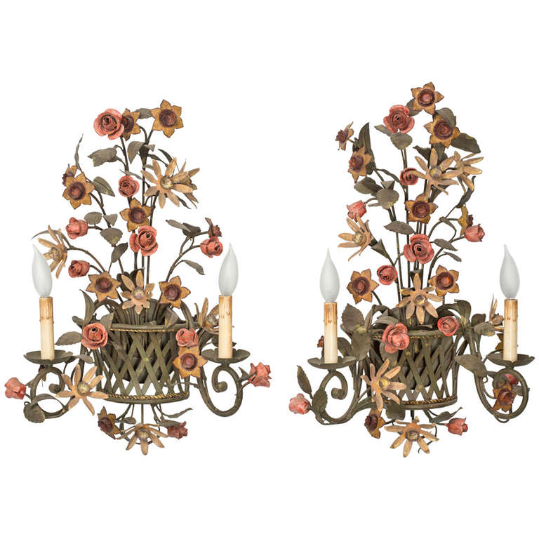 Tole Italy  city photos gallery : Pair Italian Tole Flower Wall Sconces at 1stdibs