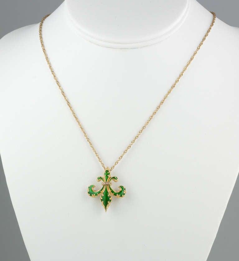 Smoky Pearl Furniture Painting Technique Captiva: 14k Enamel Fleu De Lis Pendant Necklace At 1stdibs