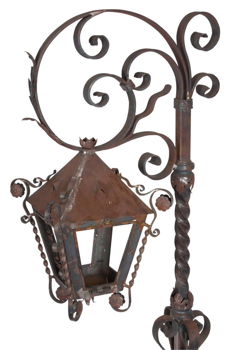 Vintage 1970s, Highly Decorative Hand Forged Iron Standing Lantern. Used  With Candle For Romantic