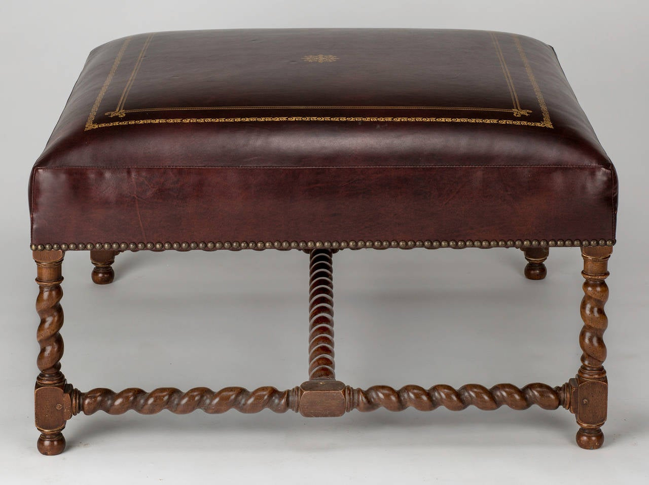 Large Square Leather Ottoman Or Bench At 1stdibs