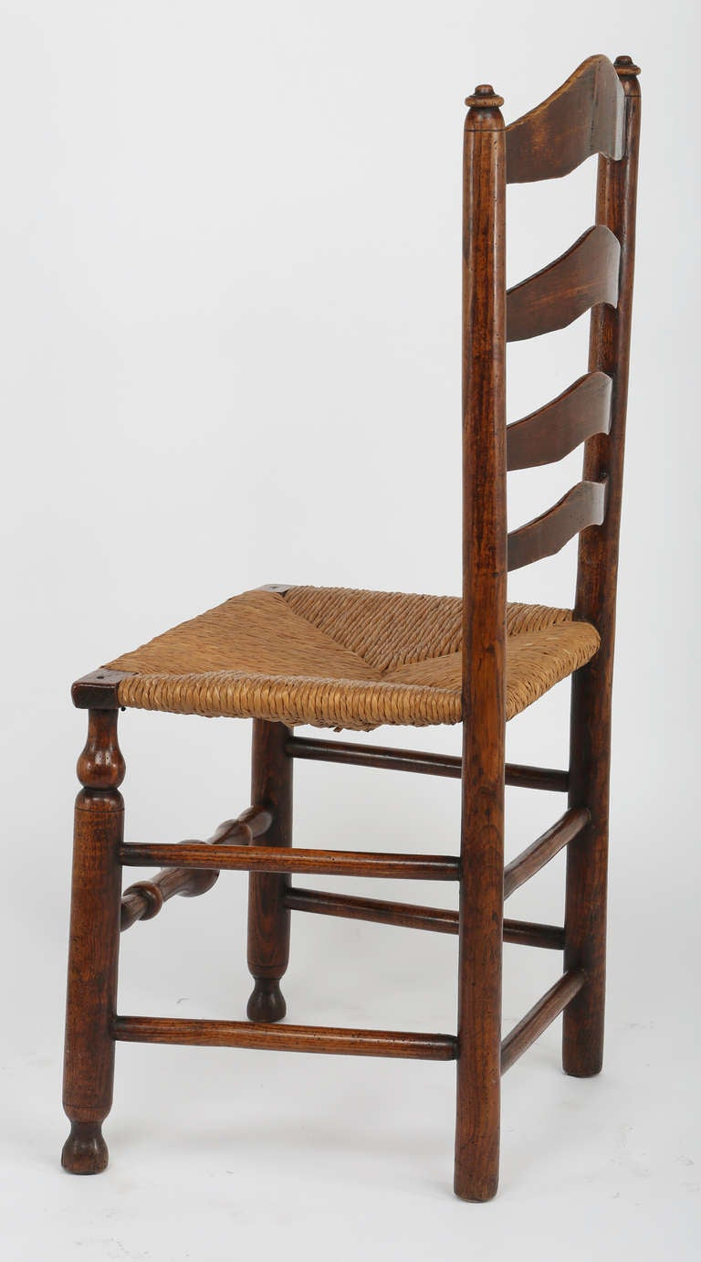 19th c set of 6 rush seat ladder back chairs at 1stdibs - Ladder back dining room chairs ...
