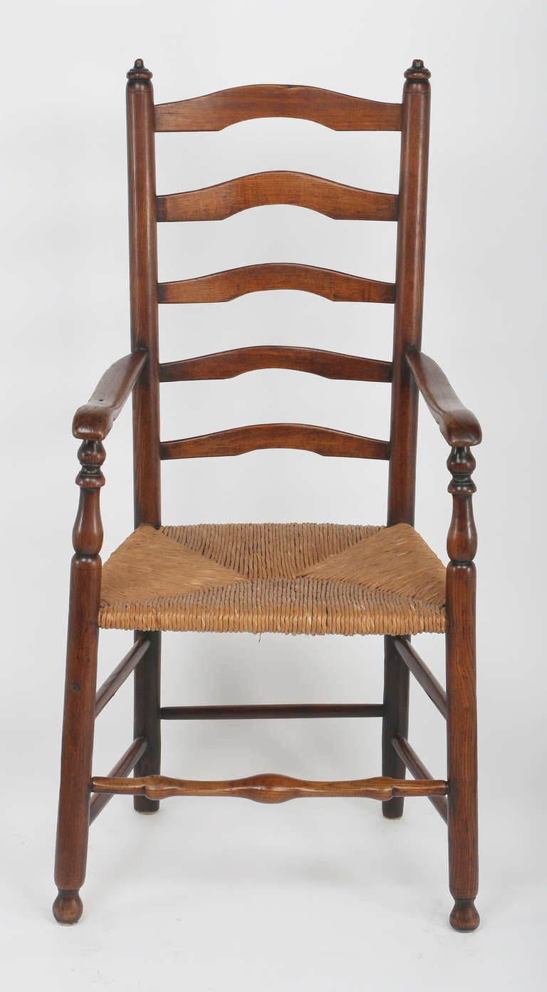 19th C Set Of 6 Rush Seat Ladder Back Chairs At 1stdibs