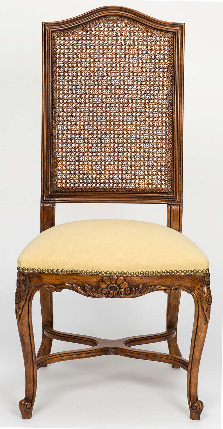 20th Century French Cane Tall High Back Dining Chairs Set Of 8 For