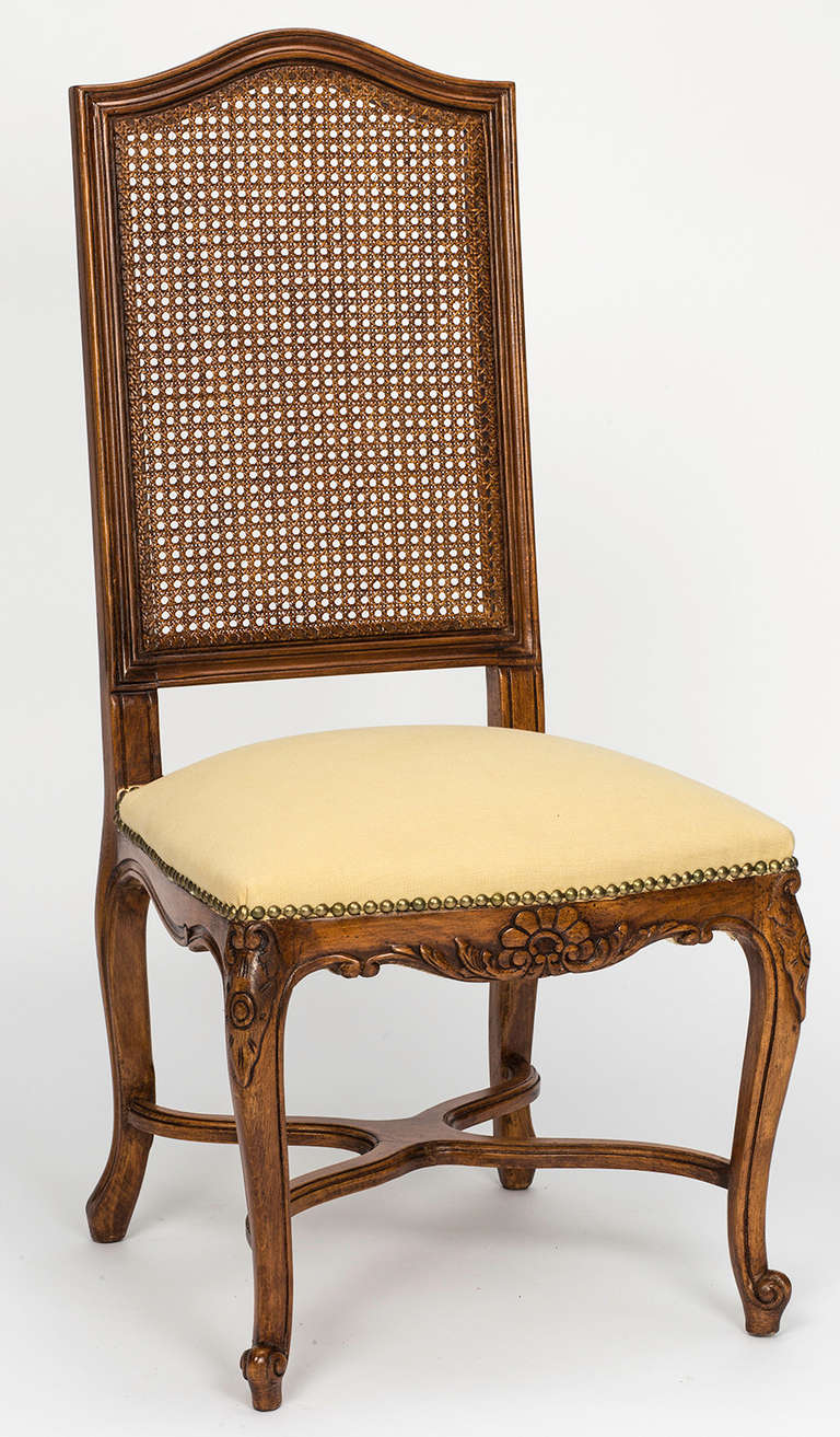 Upholstery French Cane Tall High Back Dining Chairs Set Of 8 For Sale