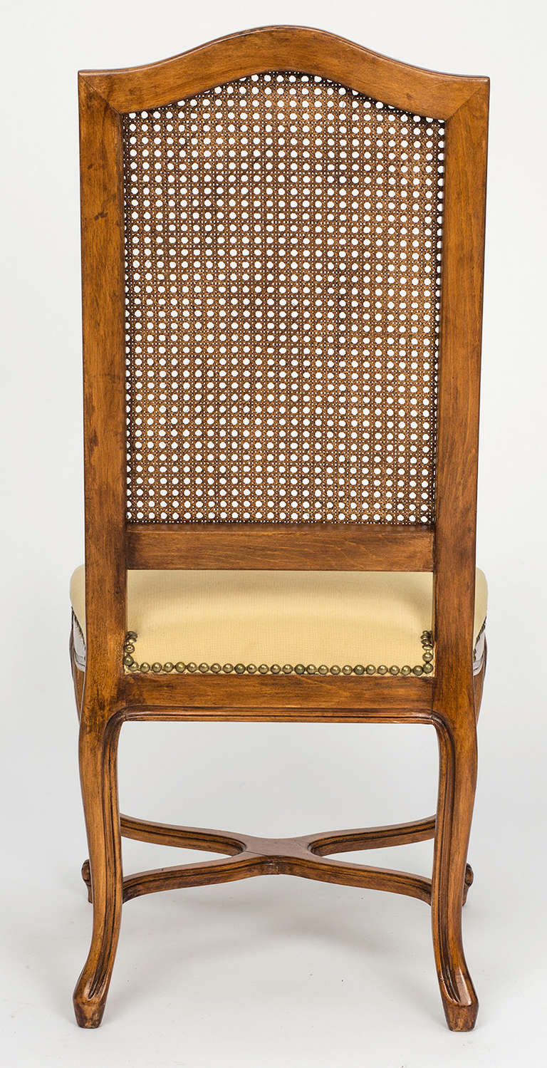 French Cane Tall High Back Dining Chairs Set Of 8 At 1stdibs