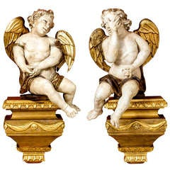 Pair Of 18th C. Wall Mounted Cherubs