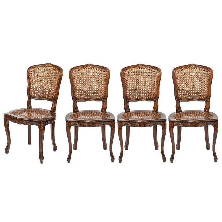 French Cane Chair set of 4 country french cane chairs at 1stdibs
