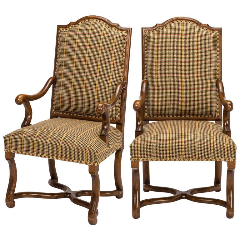 Pair Of French Tall High Back Dining Armchairs At 1stdibs