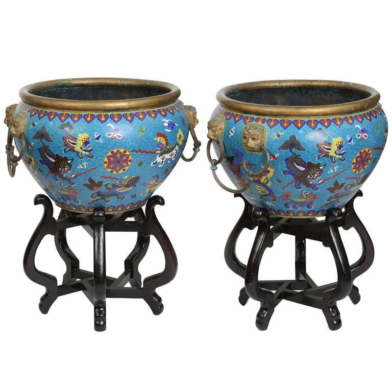 Pair large cloisonn jardinieres planter pots on stands for Cloison stand