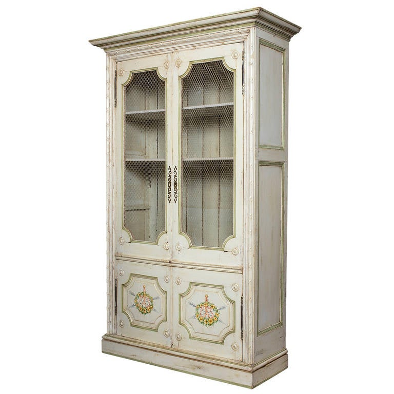 Hand Painted French Style Painted Cupboard, Bookcase Display Cabinet For  Sale