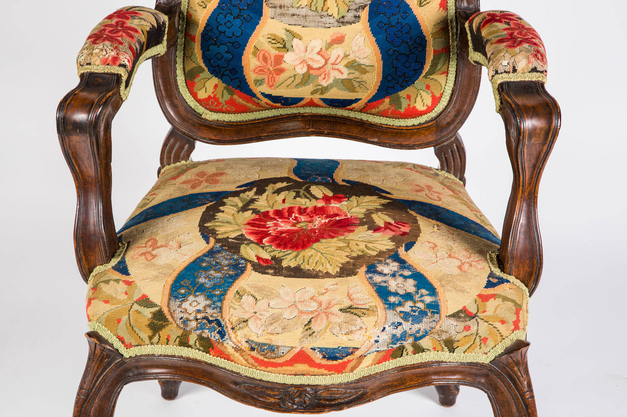 French Needle Point Armchair For Sale 2