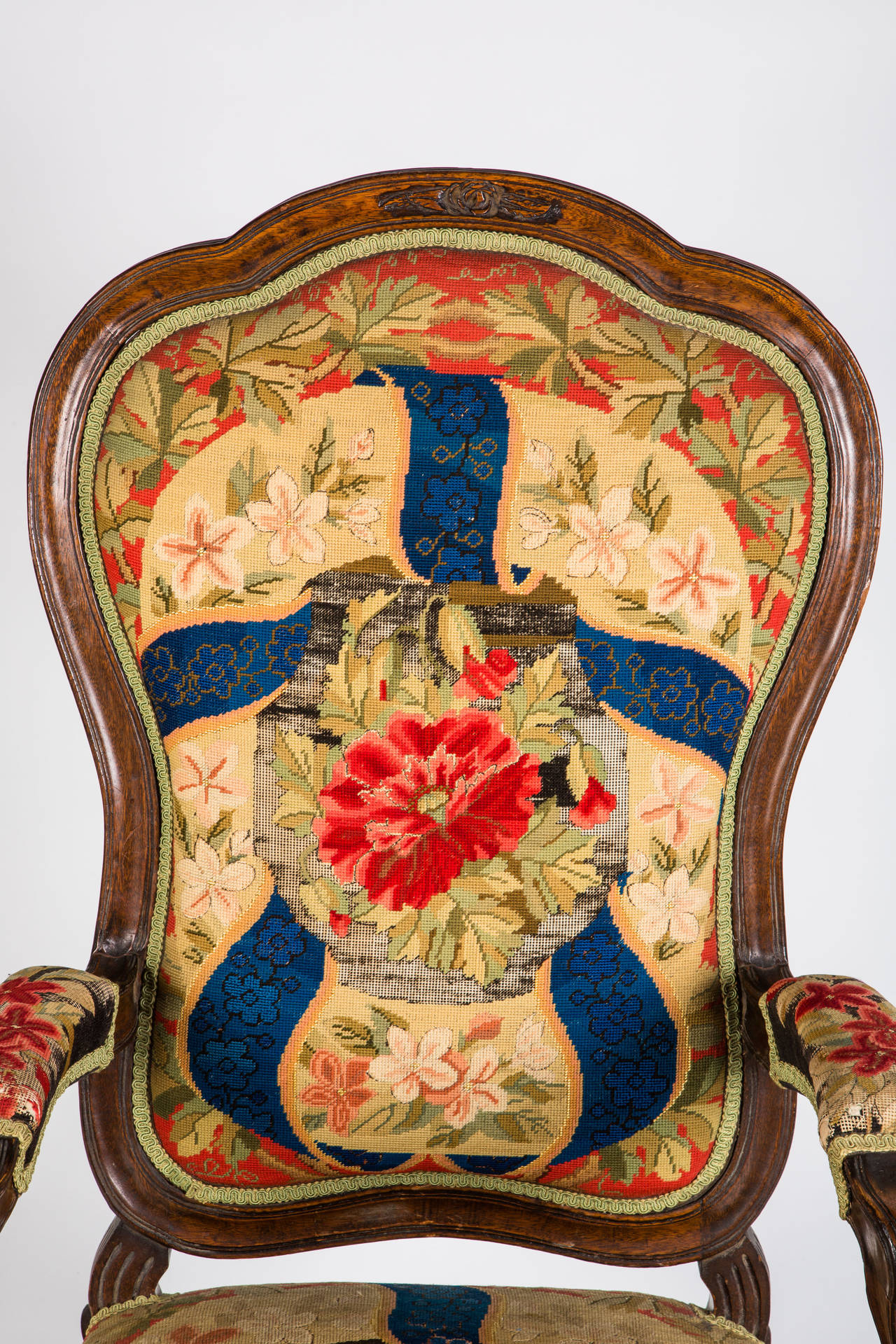 Early 20th Century French Needle Point Armchair For Sale
