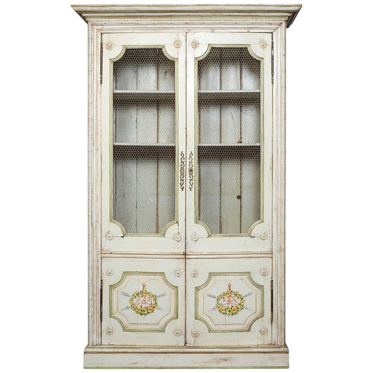 French Style Painted Cupboard, Bookcase Display Cabinet For Sale