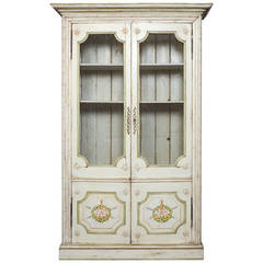 Painted French Style Vitrine, Bookcase Display Cabinet