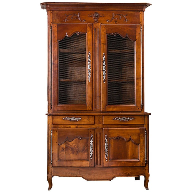 19th Century French Cherrywood China Cabinet Or Buffet Deux Corps For