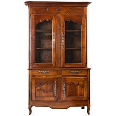 19th Century French Cherrywood China Cabinet or Buffet Deux Corps