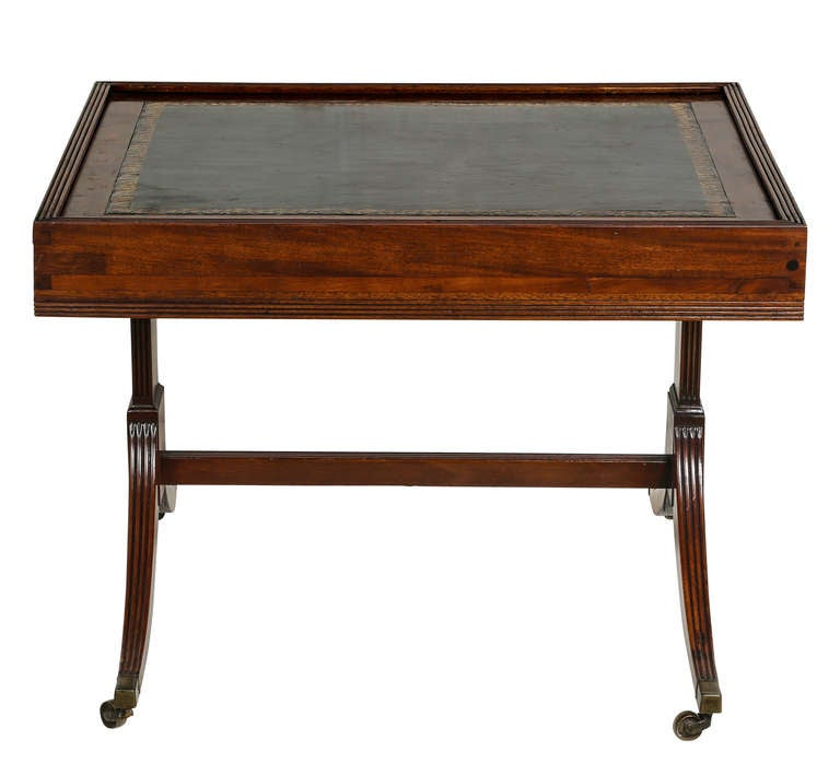 english regency leather top coffee cocktail or side table at 1stdibs