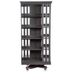 Tall Painted Gray Oak Library Stand