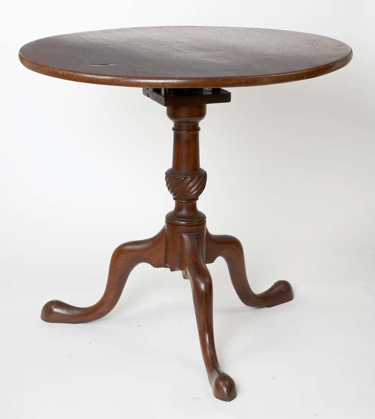 18th c english walnut tilt top round pedestal wine table for Th 37px60b table top stand