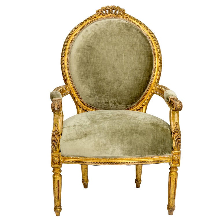 19th century pair of louis xvi style gilt fauteuil chairs. Black Bedroom Furniture Sets. Home Design Ideas