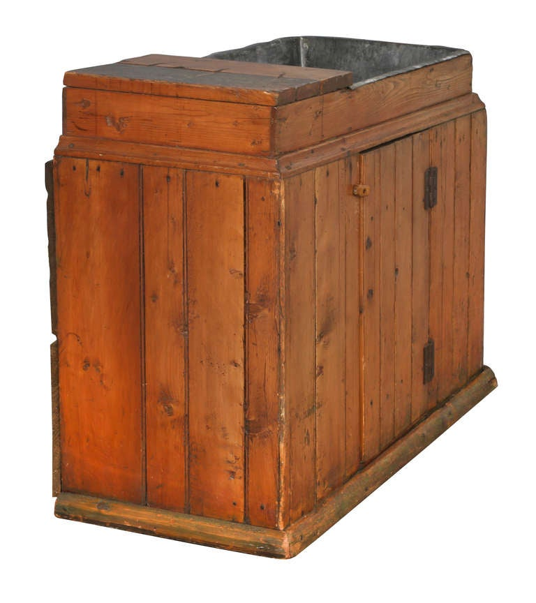 Dry Sink : Primitive American Pine Dry Sink Commode Cabinet at 1stdibs