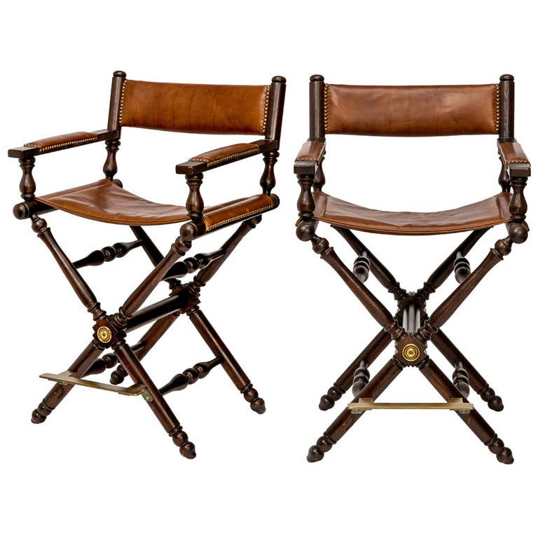 Pair Of Leather Directors Chairs At 1stdibs