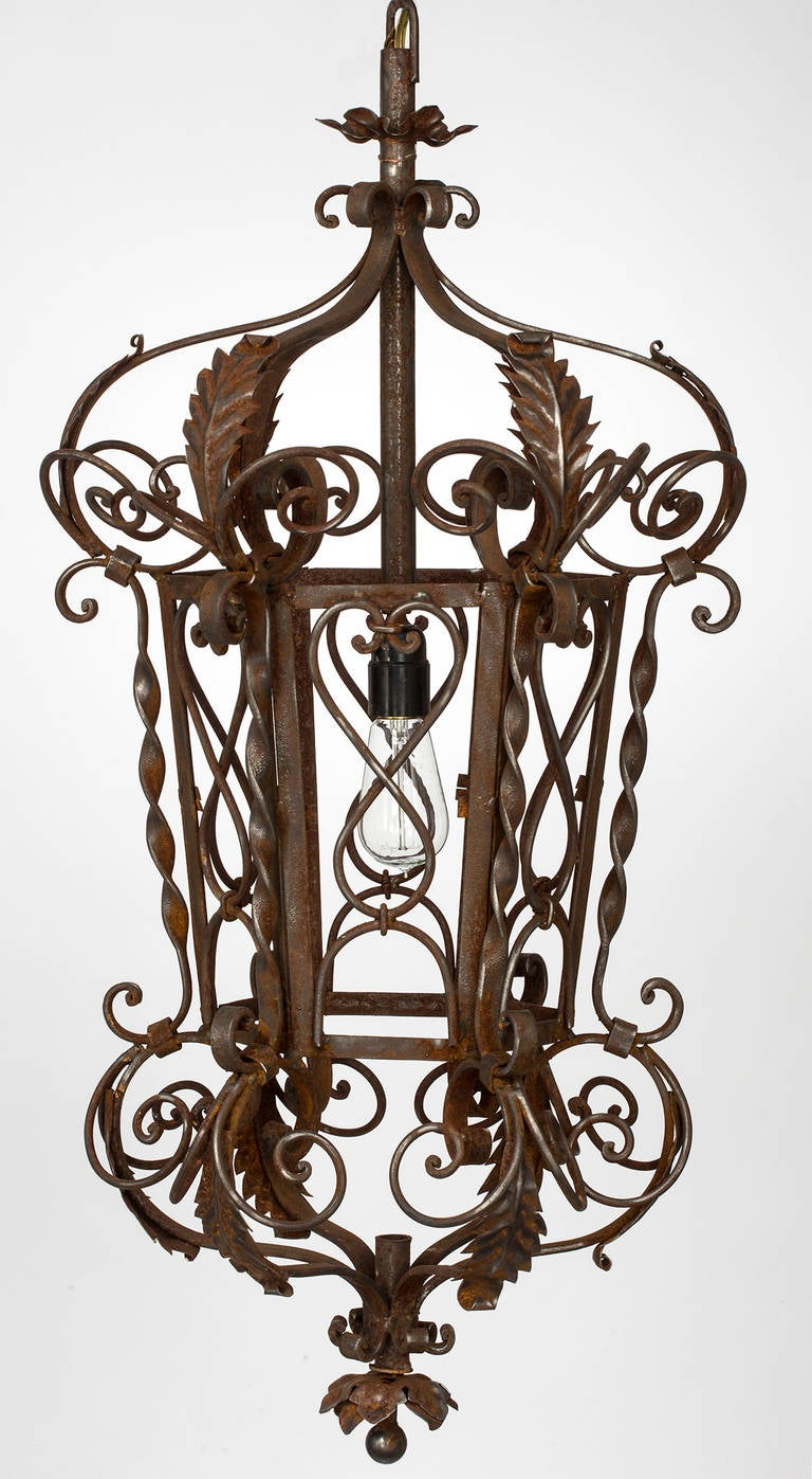 1920s wrought iron lantern pendant chandelier for sale at 1stdibs 1920s wrought iron lantern pendant chandelier in excellent condition for sale in summerland ca aloadofball Gallery