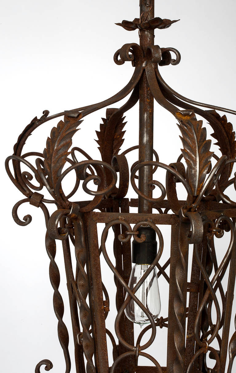 1920s wrought iron lantern pendant chandelier for sale at 1stdibs - Lights and chandeliers ...