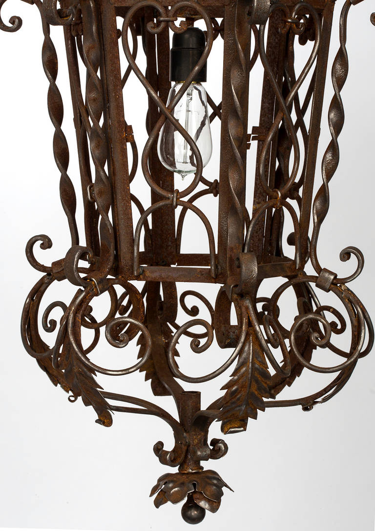 1920s Wrought Iron Lantern Pendant Chandelier For Sale At