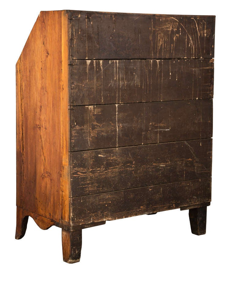 19th c. French Hand Made Pine Secretary Desk 4