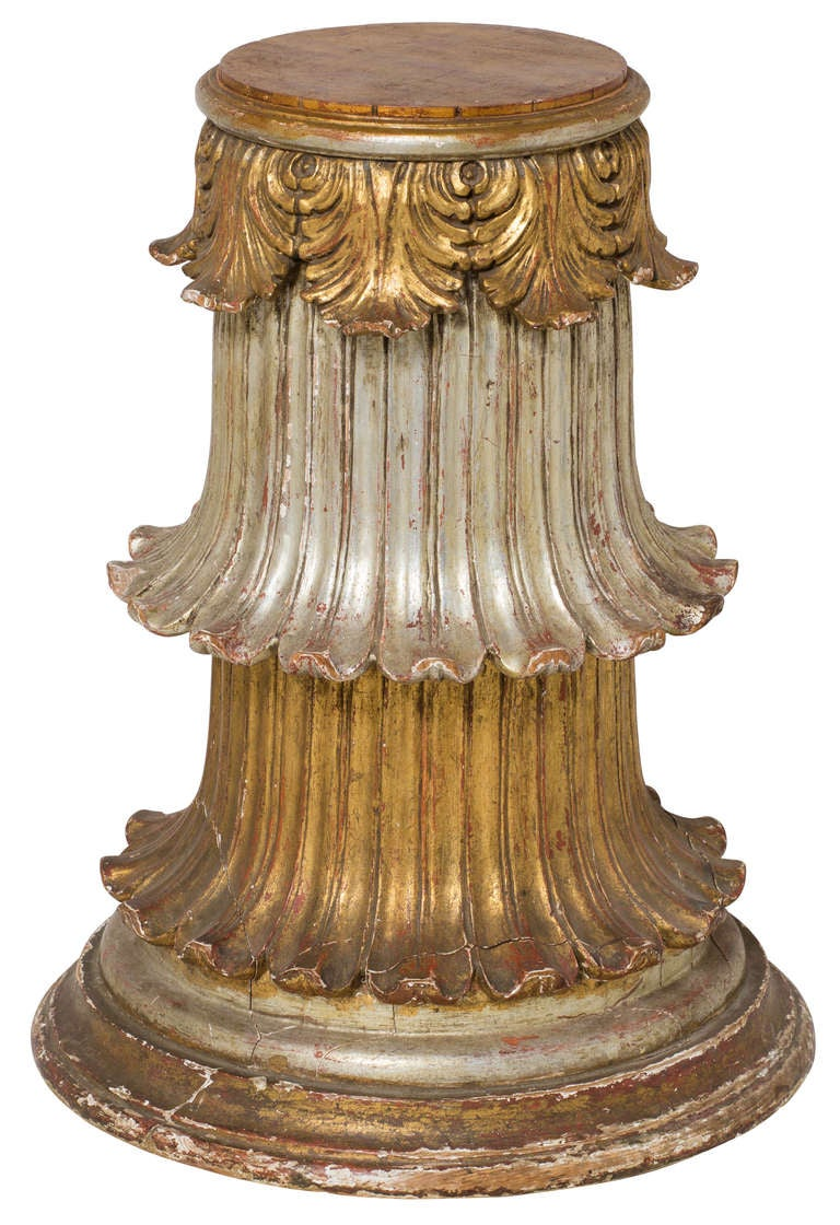 Italian Carved Wood And Gilt Pedestal Stands At 1stdibs