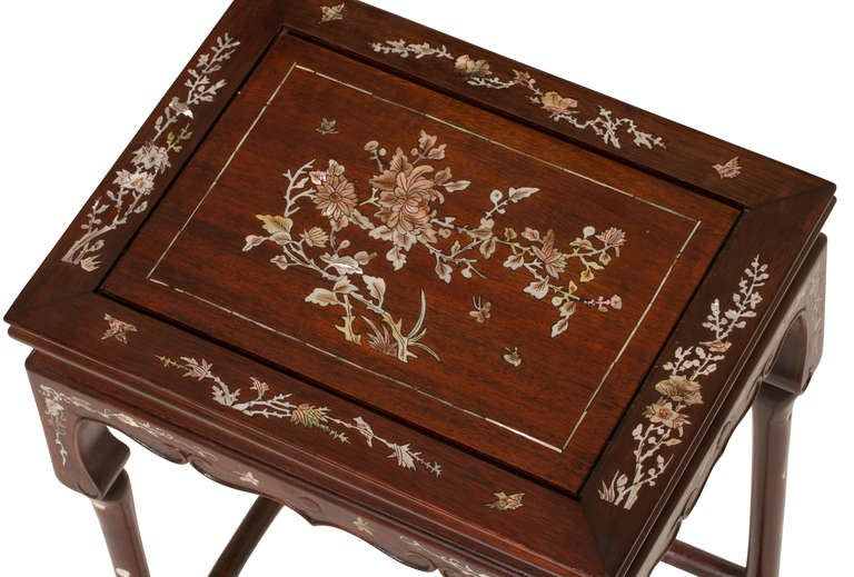 Rosewood Mother Of Pearl Inlaid Set Of Three Stack