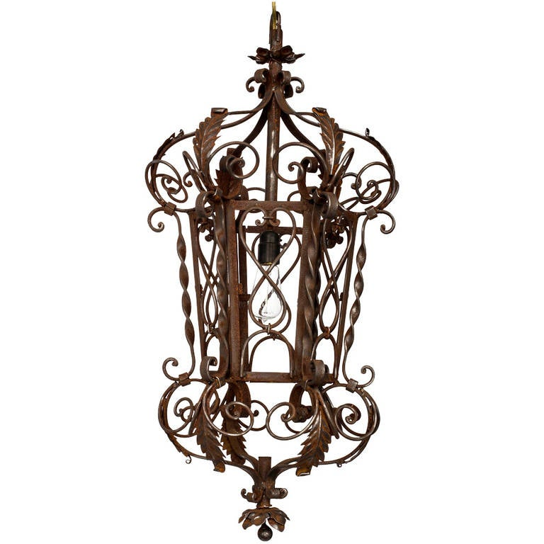 1920s wrought iron lantern pendant chandelier for sale at 1stdibs 1920s wrought iron lantern pendant chandelier for sale aloadofball Gallery