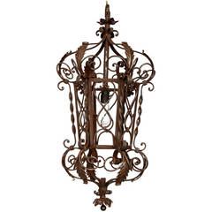 1920s Wrought Iron Lantern Pendant Chandelier