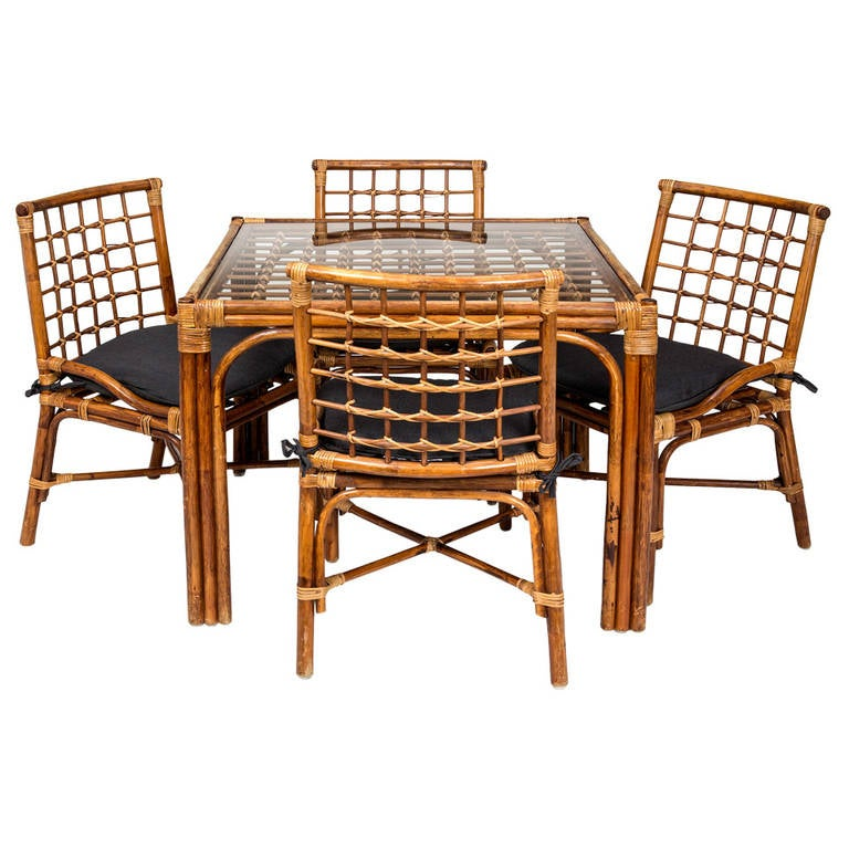 Lovely Bamboo Game Table U0026 4Chairs Set For Sale