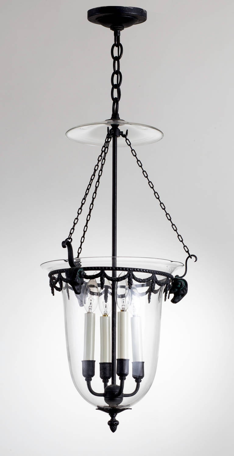 Bell Jar Pendant Lantern With Bronze Ram S Heads At 1stdibs